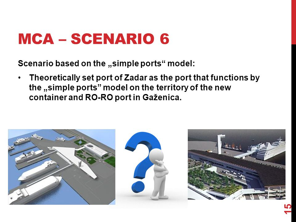 "MCA – SCENARIO 6 Scenario based on the ""simple ports model: Theoretically set port of Zadar as the port that functions by the ""simple ports model on the territory of the new container and RO-RO port in Gaženica."