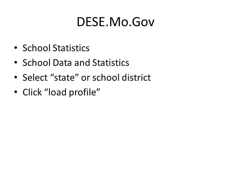 DESE.Mo.Gov School Statistics School Data and Statistics Select state or school district Click load profile