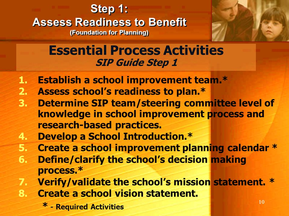 10 Step 1: Assess Readiness to Benefit (Foundation for Planning) Step 1: Assess Readiness to Benefit (Foundation for Planning) 1.Establish a school im
