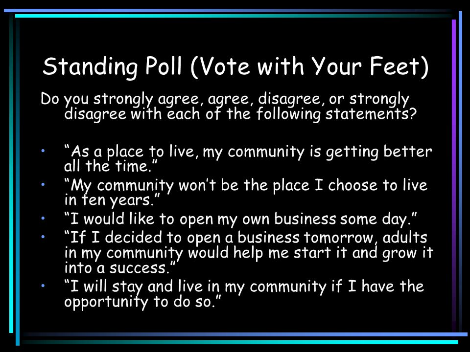 "Standing Poll (Vote with Your Feet) Do you strongly agree, agree, disagree, or strongly disagree with each of the following statements? ""As a place to"