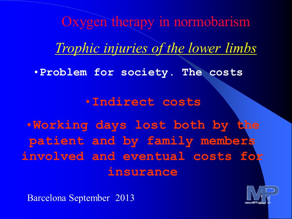 Barcelona September 2013 Oxygen therapy in normobarism Trophic injuries of the lower limbs Problem for society.