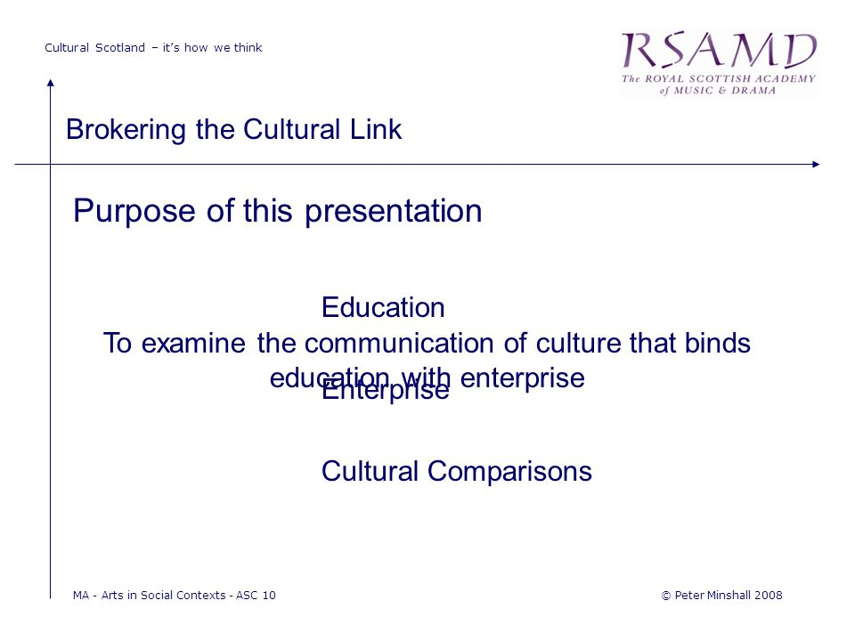 Cultural Scotland – it's how we think Brokering the Cultural Link © Peter Minshall 2008MA - Arts in Social Contexts - ASC 10 Purpose of this presentation To examine the communication of culture that binds education with enterprise Education Enterprise Cultural Comparisons