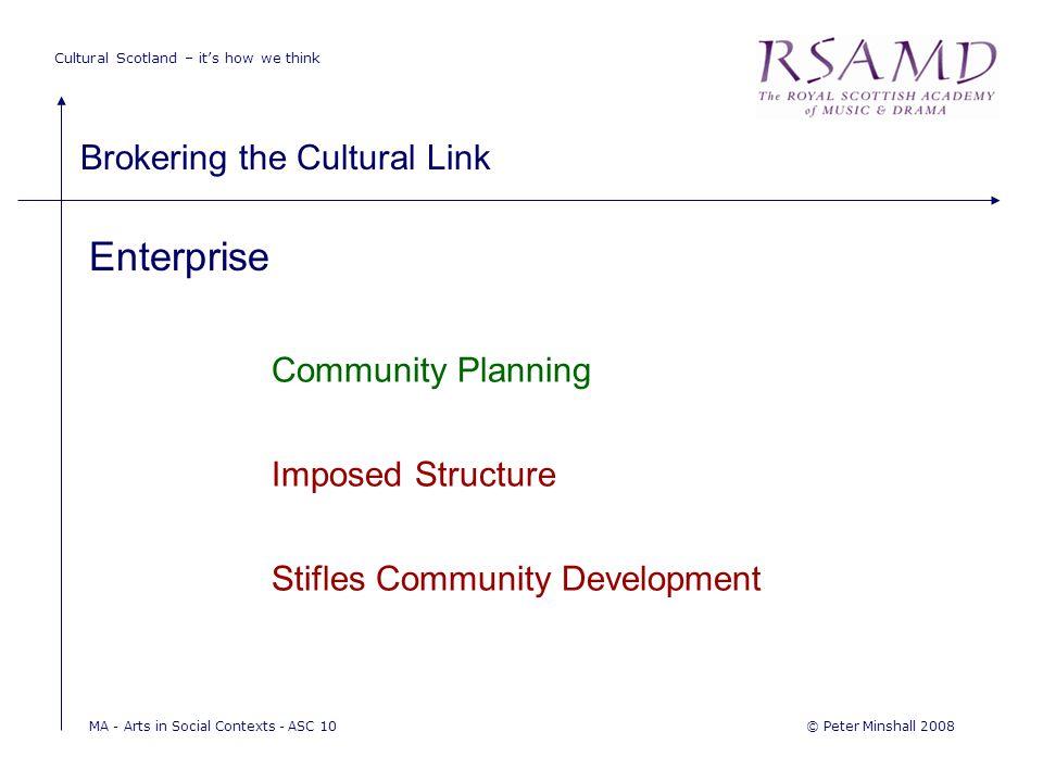 Cultural Scotland – it's how we think Brokering the Cultural Link © Peter Minshall 2008MA - Arts in Social Contexts - ASC 10 Enterprise Community Plan