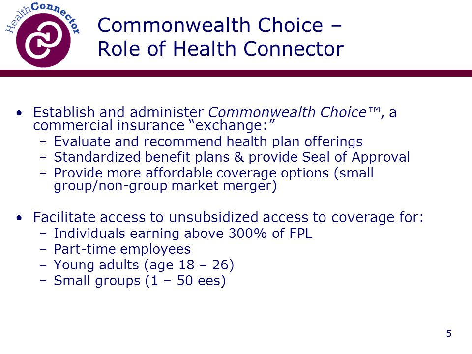 5 Commonwealth Choice – Role of Health Connector Establish and administer Commonwealth Choice™, a commercial insurance exchange: –Evaluate and recommend health plan offerings –Standardized benefit plans & provide Seal of Approval –Provide more affordable coverage options (small group/non-group market merger) Facilitate access to unsubsidized access to coverage for: –Individuals earning above 300% of FPL –Part-time employees –Young adults (age 18 – 26) –Small groups (1 – 50 ees)