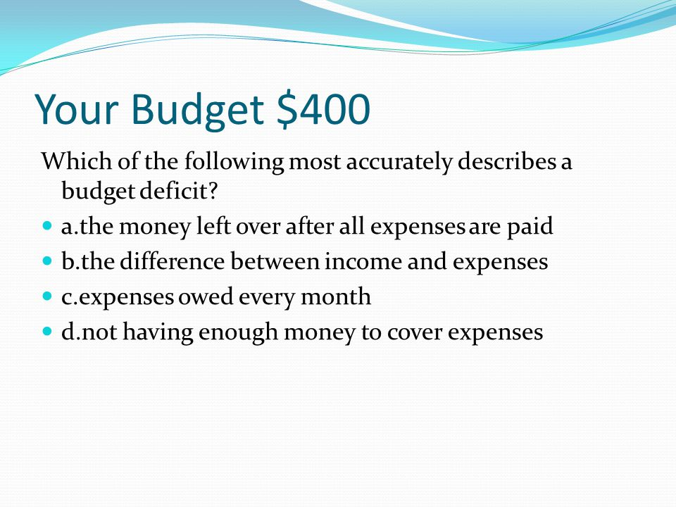 Your Budget $300 Fixed expenses include all of the following except electric bill.