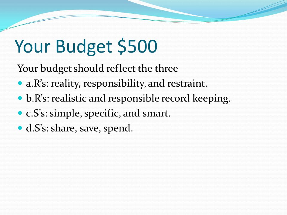 Your Budget $400 Which of the following most accurately describes a budget deficit.