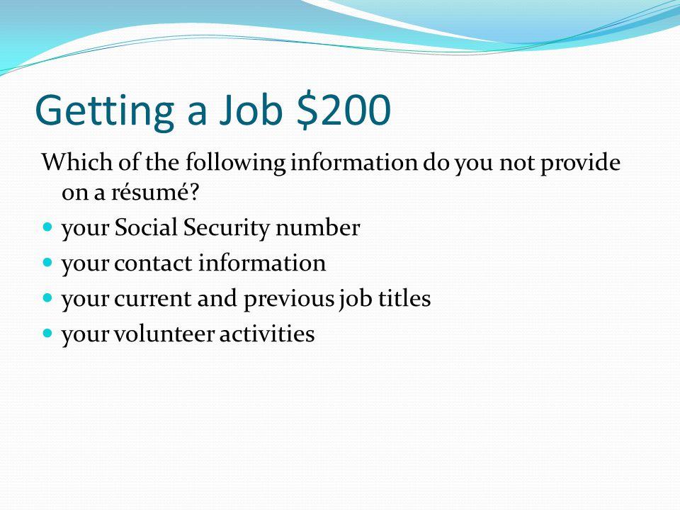 Getting a Job $100 form 1040