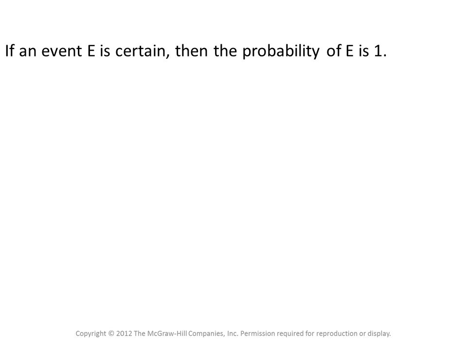Probability Rule 3 If an event E is certain, then the probability of E is 1.