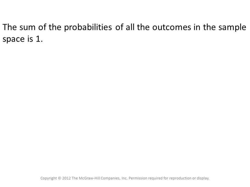 Probability Rule 4 The sum of the probabilities of all the outcomes in the sample space is 1.