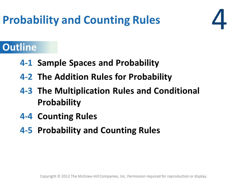 Outline 4 Probability and Counting Rules 4-1Sample Spaces and Probability 4-2The Addition Rules for Probability 4-3The Multiplication Rules and Condit
