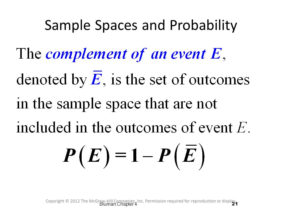 Sample Spaces and Probability 21 Bluman Chapter 4