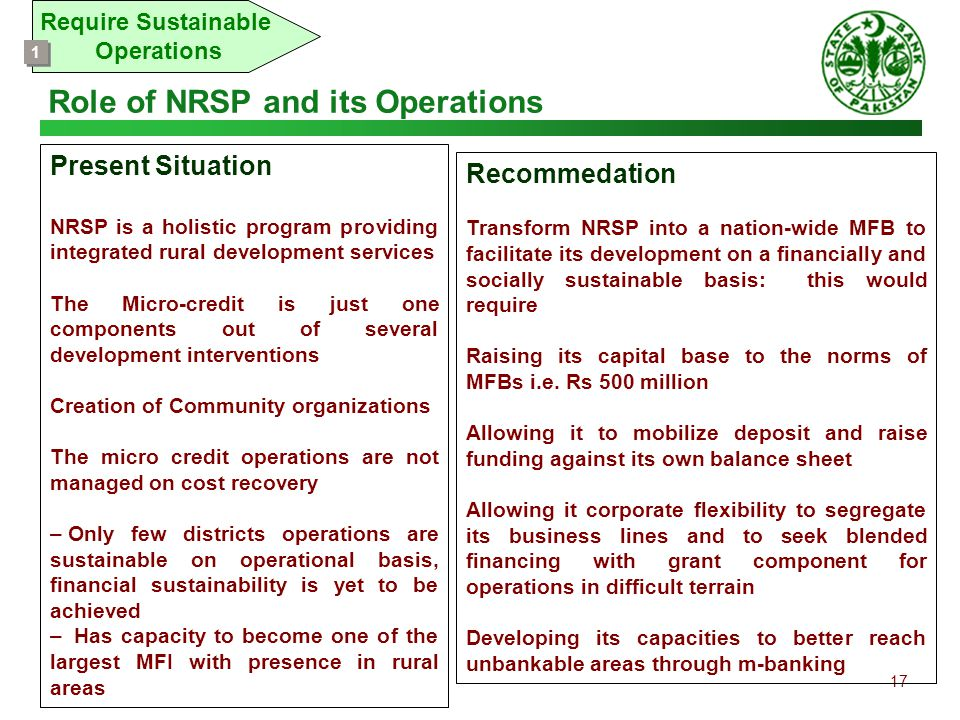 17 Require Sustainable Operations 1 1 Recommedation Transform NRSP into a nation-wide MFB to facilitate its development on a financially and socially
