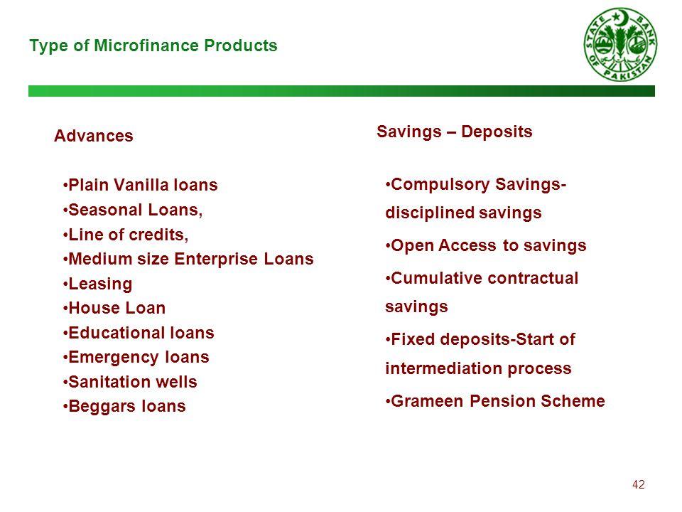 42 Type of Microfinance Products Advances Plain Vanilla loans Seasonal Loans, Line of credits, Medium size Enterprise Loans Leasing House Loan Educati