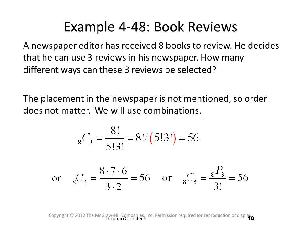 Example 4-48: Book Reviews A newspaper editor has received 8 books to review.