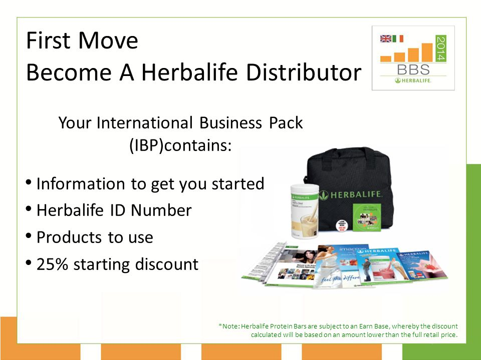 Your International Business Pack (IBP)contains: Information to get you started Herbalife ID Number Products to use 25% starting discount First Move Become A Herbalife Distributor *Note: Herbalife Protein Bars are subject to an Earn Base, whereby the discount calculated will be based on an amount lower than the full retail price.
