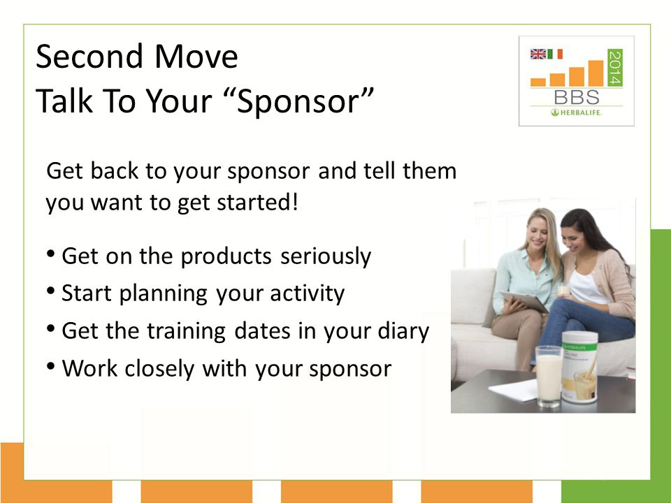 Get back to your sponsor and tell them you want to get started.