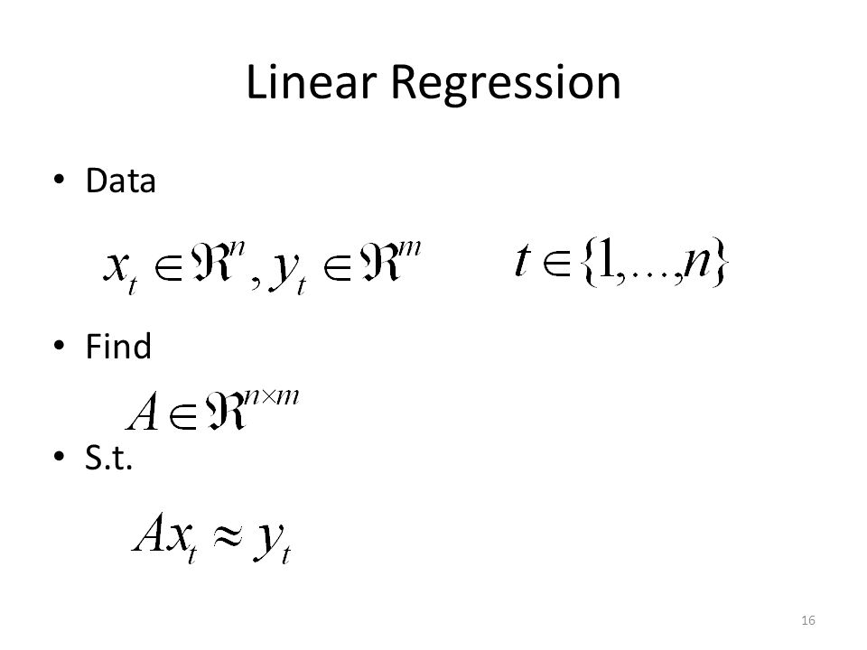 Linear Regression Data Find S.t. 16