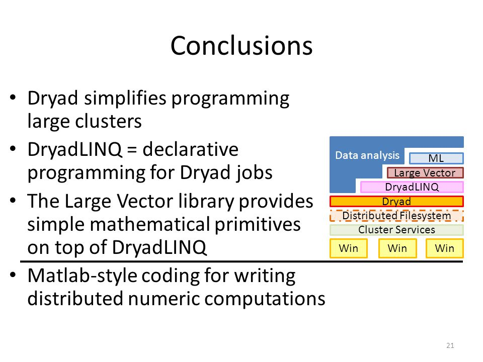 Conclusions Dryad simplifies programming large clusters DryadLINQ = declarative programming for Dryad jobs The Large Vector library provides simple ma