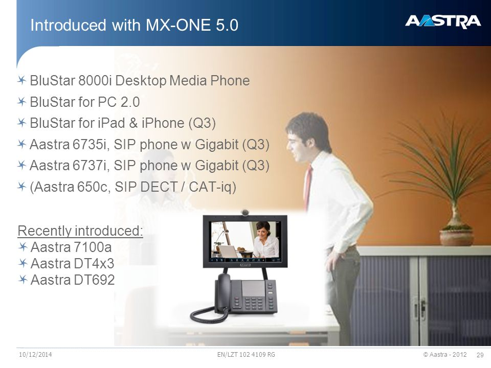 © Aastra - 2012 29 Introduced with MX-ONE 5.0 BluStar 8000i Desktop Media Phone BluStar for PC 2.0 BluStar for iPad & iPhone (Q3) Aastra 6735i, SIP ph