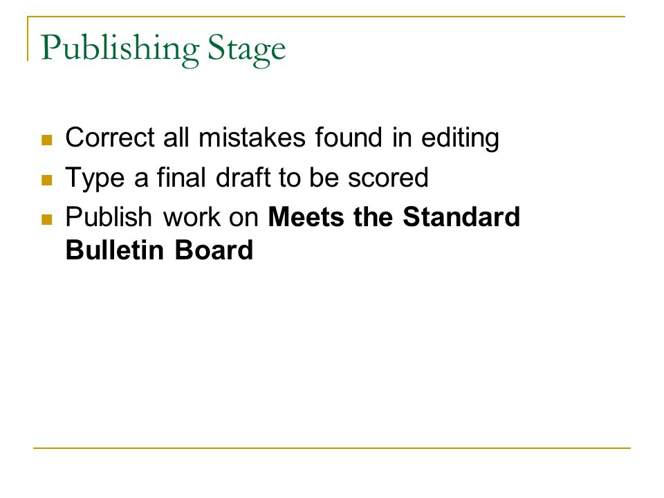 Publishing Stage Correct all mistakes found in editing Type a final draft to be scored Publish work on Meets the Standard Bulletin Board