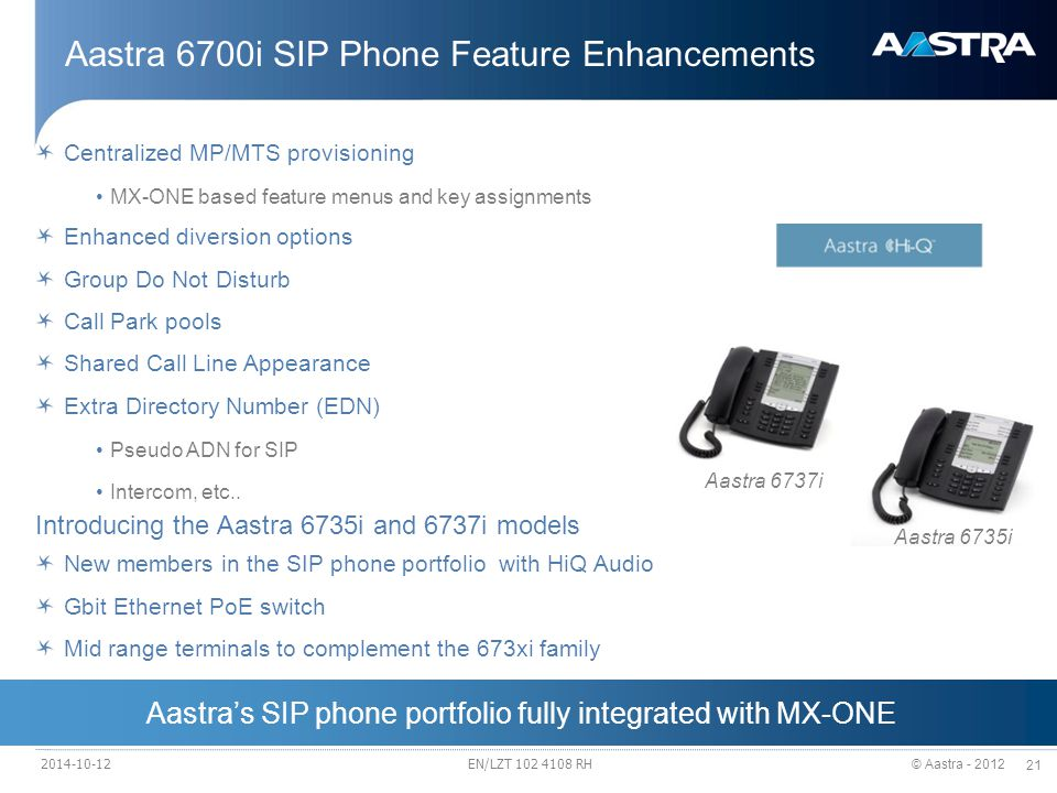 © Aastra - 2012 21 Aastra 6700i SIP Phone Feature Enhancements Centralized MP/MTS provisioning MX-ONE based feature menus and key assignments Enhanced diversion options Group Do Not Disturb Call Park pools Shared Call Line Appearance Extra Directory Number (EDN) Pseudo ADN for SIP Intercom, etc..