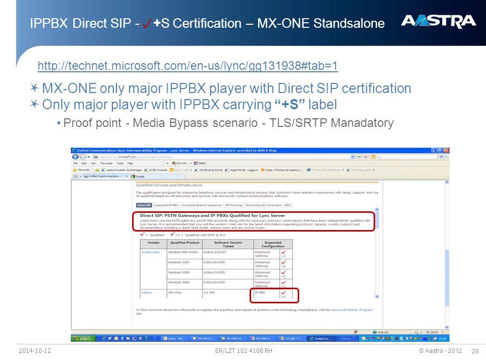 © Aastra - 2012 28 IPPBX Direct SIP -  +S Certification – MX-ONE Standsalone http://technet.microsoft.com/en-us/lync/gg131938#tab=1 MX-ONE only major IPPBX player with Direct SIP certification Only major player with IPPBX carrying +S label Proof point - Media Bypass scenario - TLS/SRTP Manadatory 2014-10-12EN/LZT 102 4108 RH