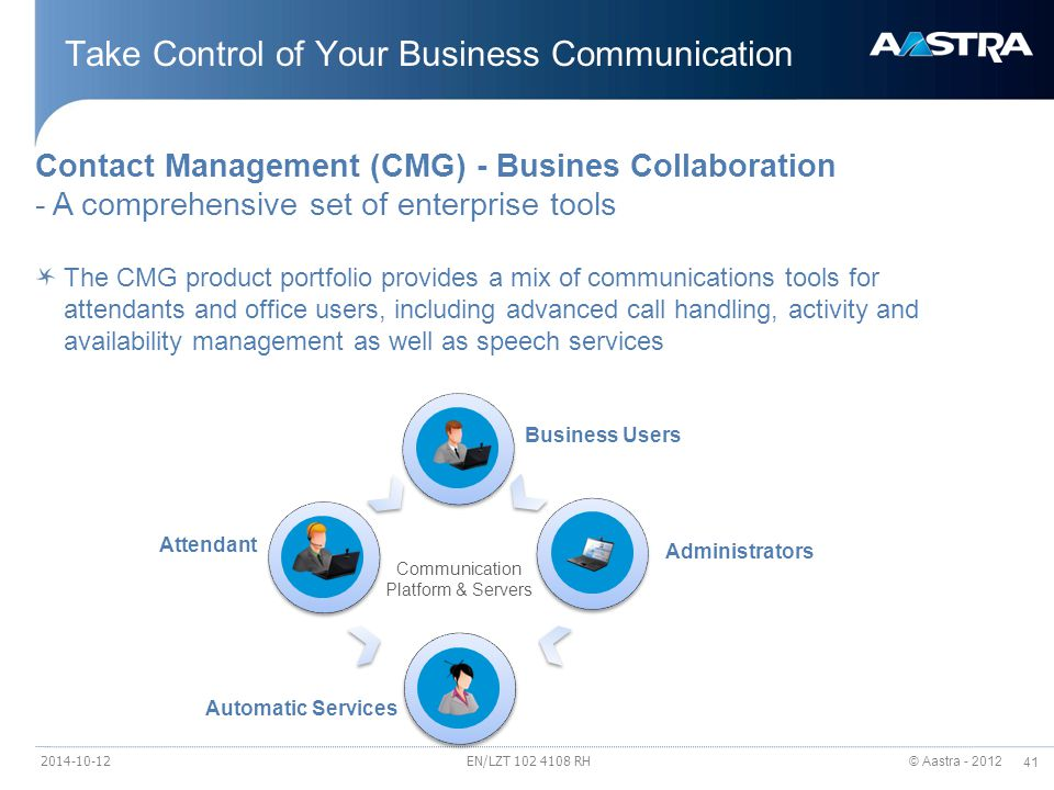 © Aastra - 2012 41 Take Control of Your Business Communication EN/LZT 102 4108 RH Contact Management (CMG) - Busines Collaboration - A comprehensive set of enterprise tools The CMG product portfolio provides a mix of communications tools for attendants and office users, including advanced call handling, activity and availability management as well as speech services Attendant Business Users Automatic Services Administrators Communication Platform & Servers 2014-10-12