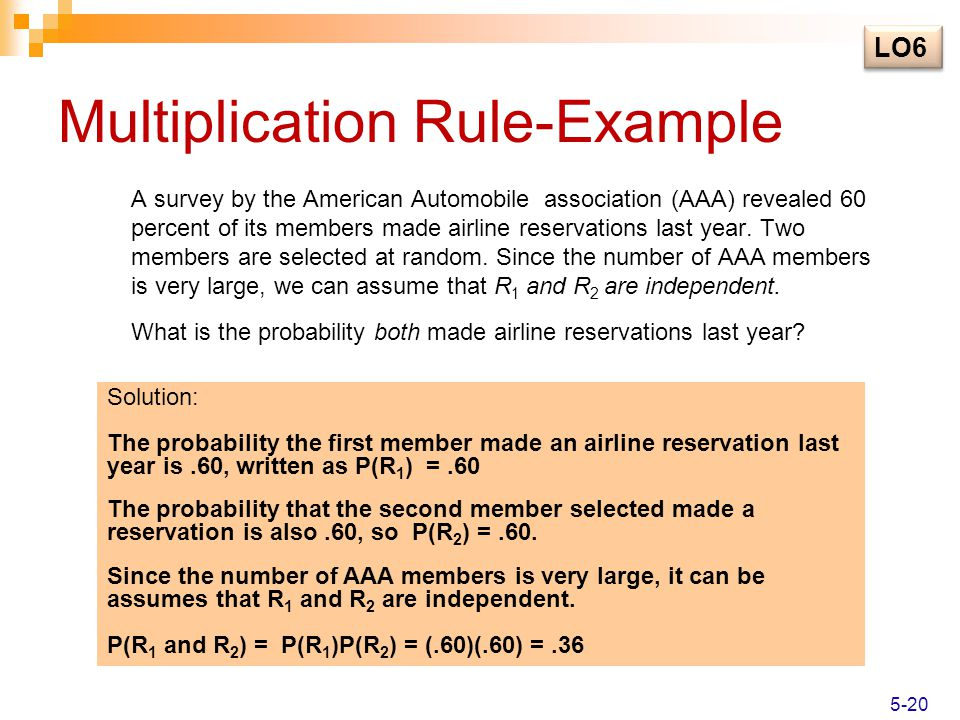 Multiplication Rule-Example A survey by the American Automobile association (AAA) revealed 60 percent of its members made airline reservations last ye