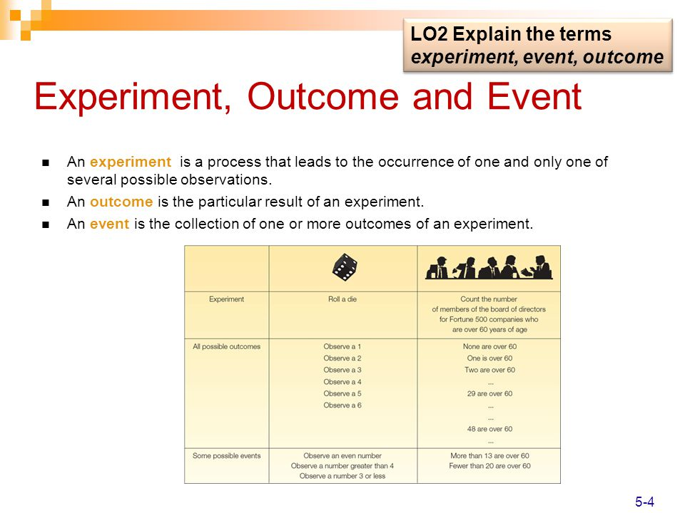 Experiment, Outcome and Event An experiment is a process that leads to the occurrence of one and only one of several possible observations. An outcome