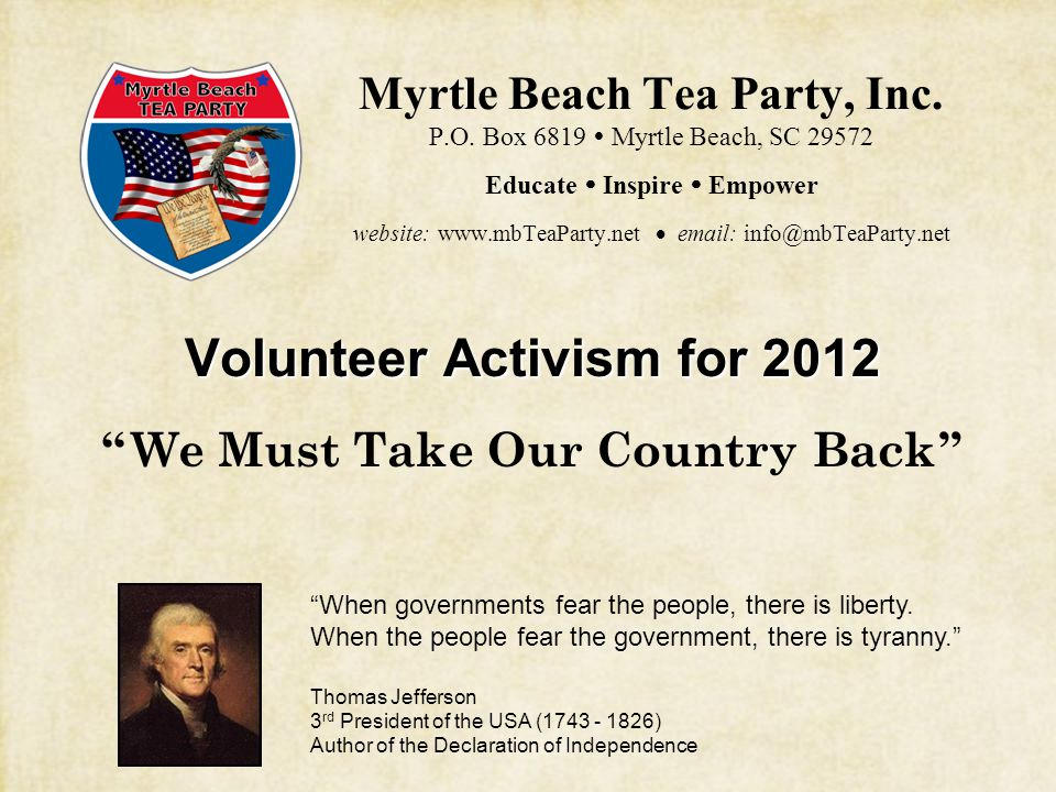 Myrtle Beach Tea Party, Inc. P.O.