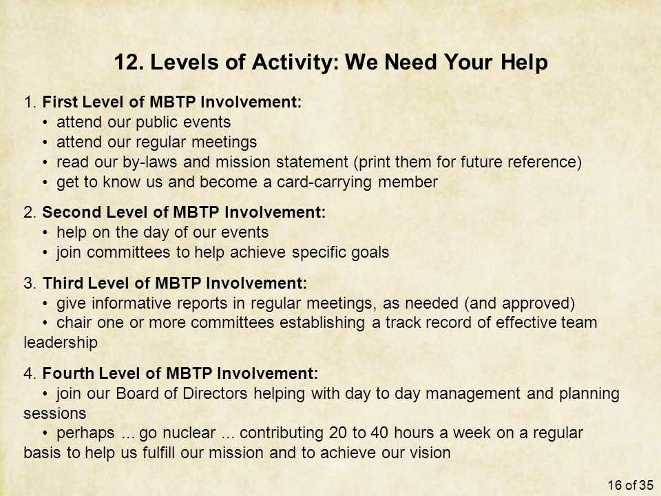 12. Levels of Activity: We Need Your Help 1.
