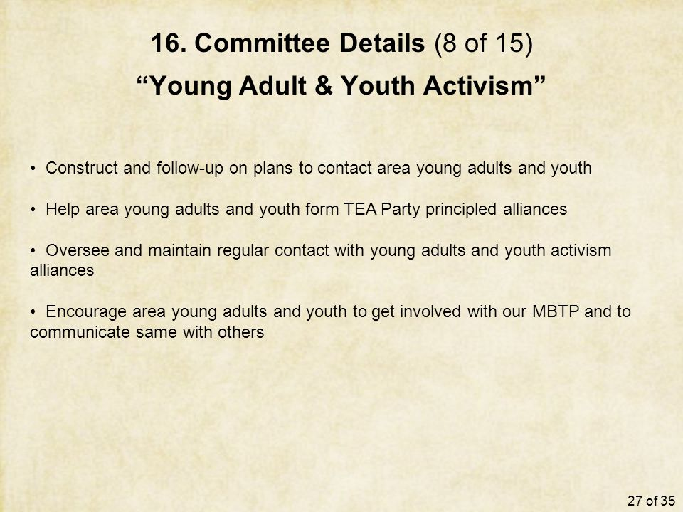 "16. Committee Details (8 of 15) ""Young Adult & Youth Activism"" Construct and follow-up on plans to contact area young adults and youth Help area young"