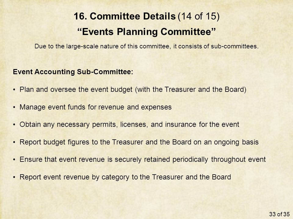 "16. Committee Details (14 of 15) ""Events Planning Committee"" Due to the large-scale nature of this committee, it consists of sub-committees. Event Acc"