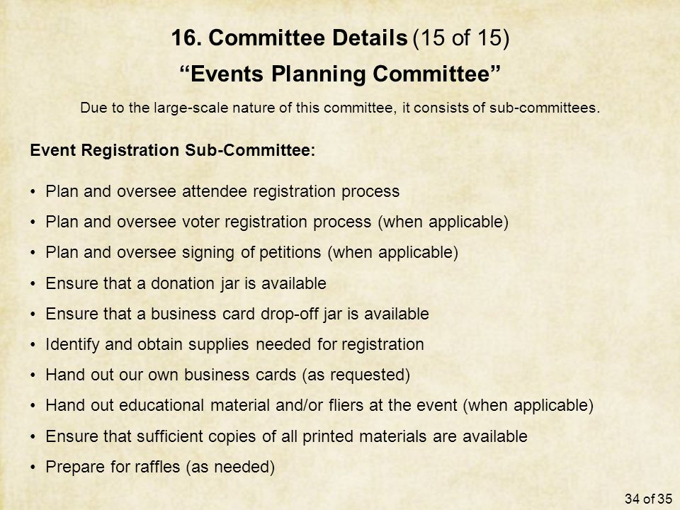 "16. Committee Details (15 of 15) ""Events Planning Committee"" Due to the large-scale nature of this committee, it consists of sub-committees. Event Reg"
