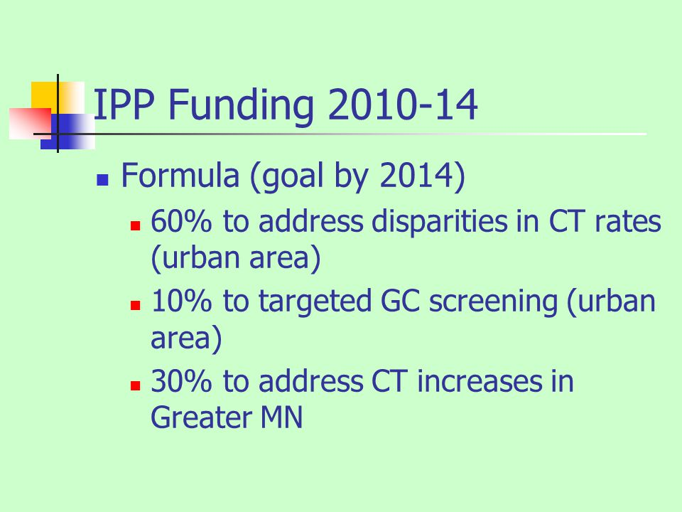 IPP Funding 2010-14 Formula (goal by 2014) 60% to address disparities in CT rates (urban area) 10% to targeted GC screening (urban area) 30% to address CT increases in Greater MN
