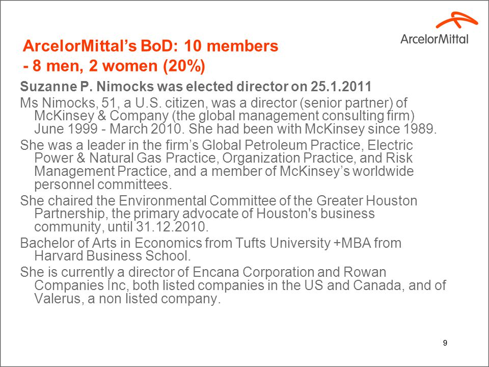 9 ArcelorMittal's BoD: 10 members - 8 men, 2 women (20%) Suzanne P. Nimocks was elected director on 25.1.2011 Ms Nimocks, 51, a U.S. citizen, was a di