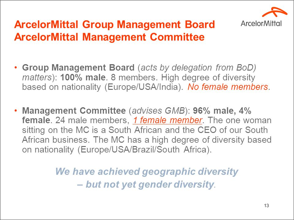 13 ArcelorMittal Group Management Board ArcelorMittal Management Committee Group Management Board (acts by delegation from BoD) matters): 100% male.