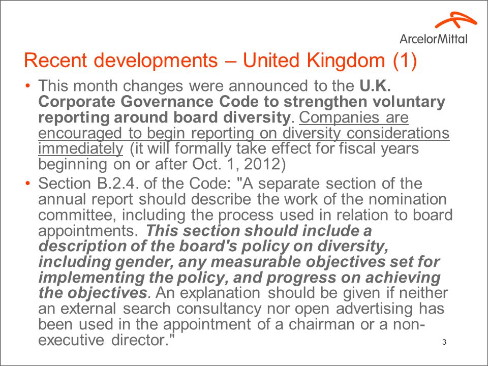 3 Recent developments – United Kingdom (1) This month changes were announced to the U.K.
