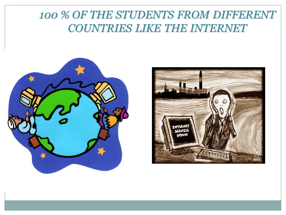 100 % OF THE STUDENTS FROM DIFFERENT COUNTRIES LIKE THE INTERNET