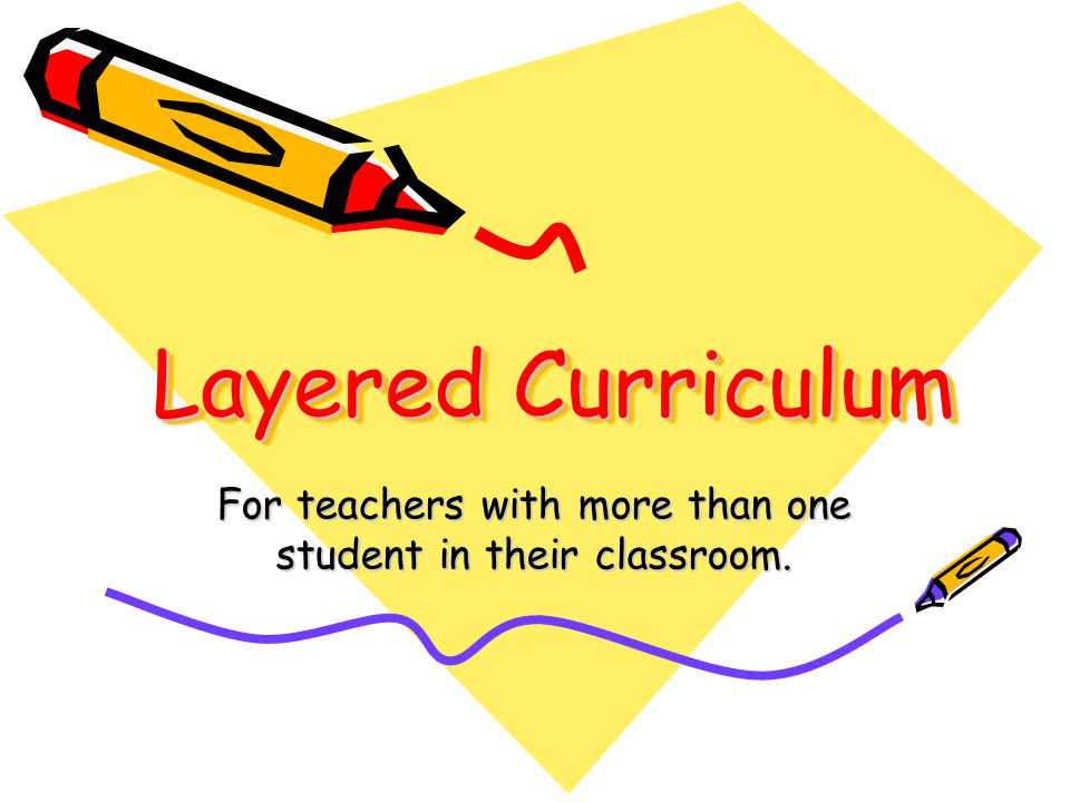 Layered Curriculum For teachers with more than one student in their classroom.