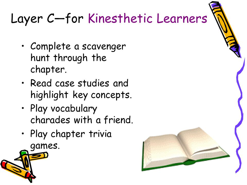 Layer C—for Kinesthetic Learners Complete a scavenger hunt through the chapter.