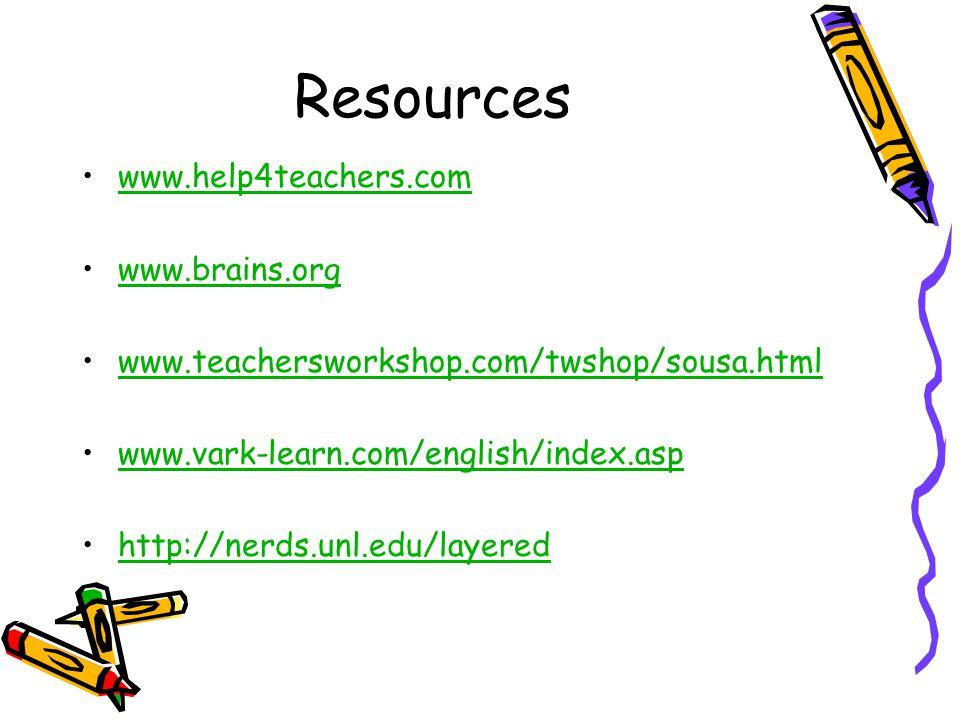 Resources www.help4teachers.com www.brains.org www.teachersworkshop.com/twshop/sousa.html www.vark-learn.com/english/index.asp http://nerds.unl.edu/layered