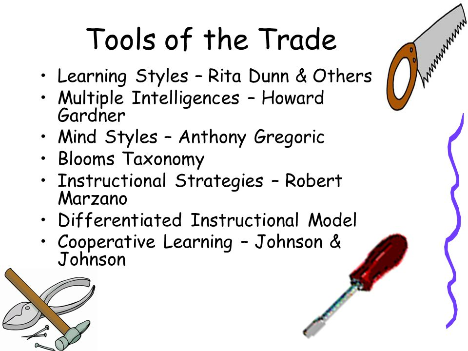 Tools of the Trade Learning Styles – Rita Dunn & Others Multiple Intelligences – Howard Gardner Mind Styles – Anthony Gregoric Blooms Taxonomy Instructional Strategies – Robert Marzano Differentiated Instructional Model Cooperative Learning – Johnson & Johnson