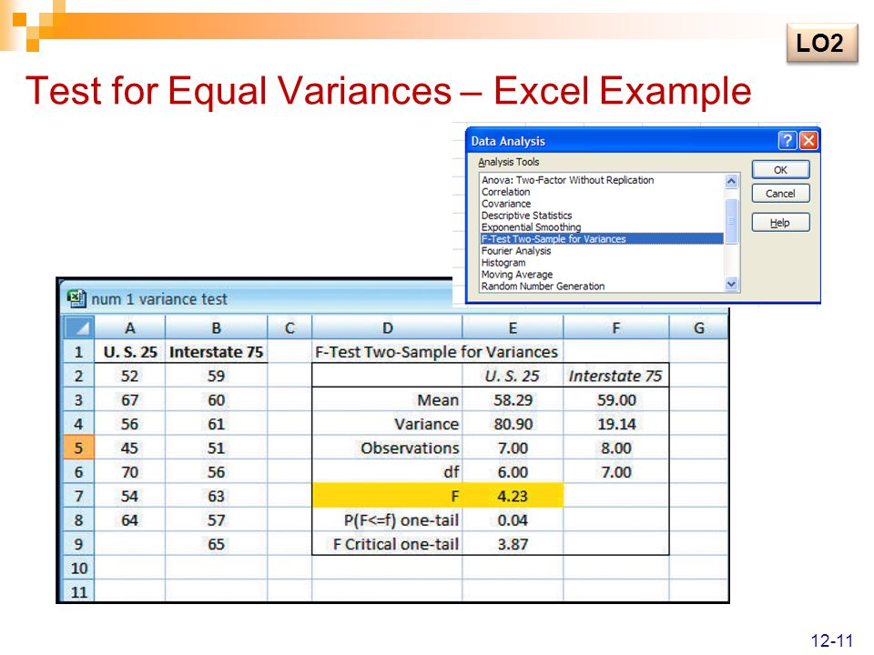Test for Equal Variances – Excel Example LO2 12-11