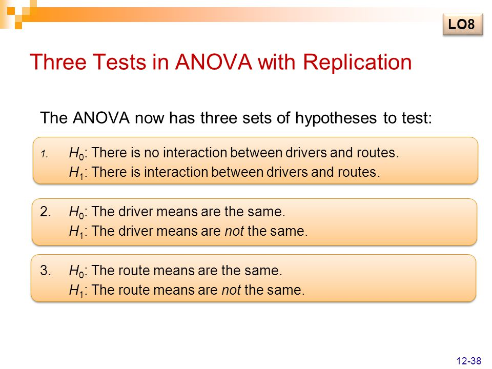 Three Tests in ANOVA with Replication The ANOVA now has three sets of hypotheses to test: 1. H 0 : There is no interaction between drivers and routes.
