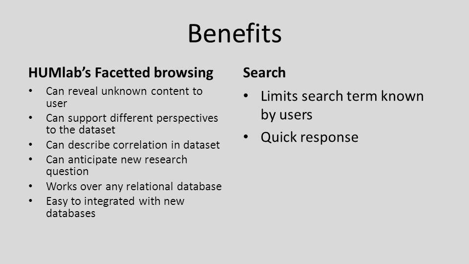 Benefits HUMlab's Facetted browsing Can reveal unknown content to user Can support different perspectives to the dataset Can describe correlation in dataset Can anticipate new research question Works over any relational database Easy to integrated with new databases Search Limits search term known by users Quick response