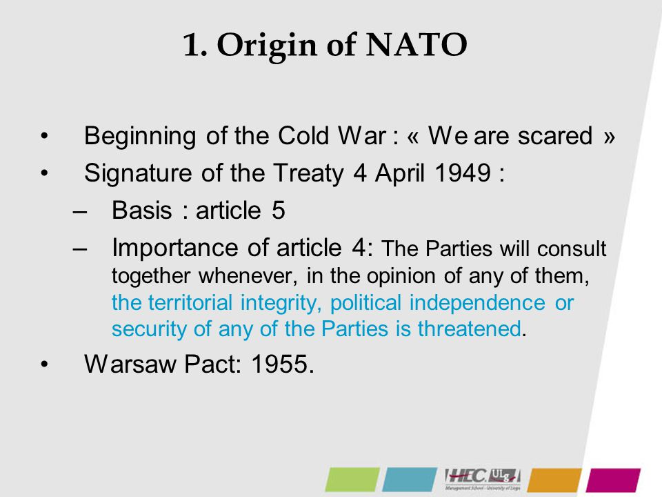 Principles Possibility to resort to NATO means.