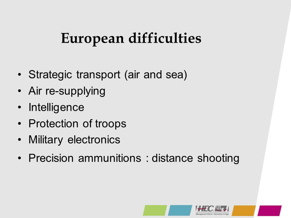 European difficulties Strategic transport (air and sea) Air re-supplying Intelligence Protection of troops Military electronics Precision ammunitions