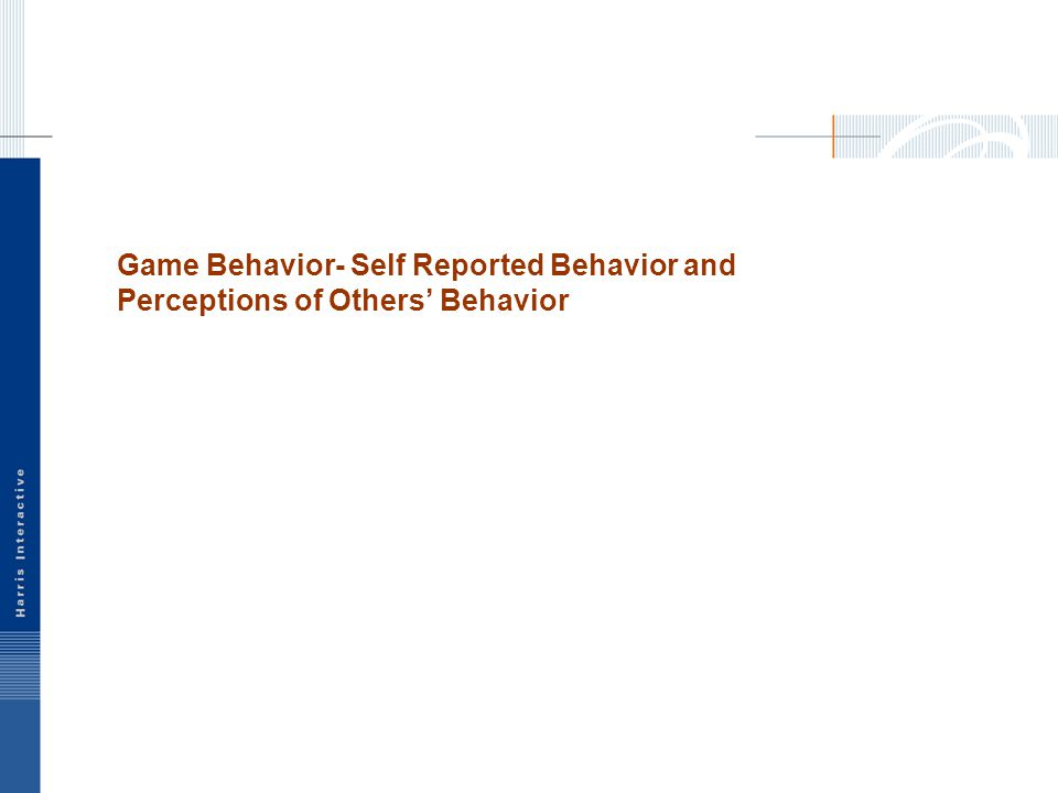 Game Behavior- Self Reported Behavior and Perceptions of Others' Behavior