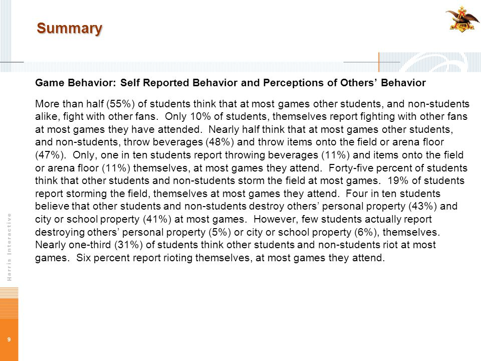9 Summary Game Behavior: Self Reported Behavior and Perceptions of Others' Behavior More than half (55%) of students think that at most games other students, and non-students alike, fight with other fans.